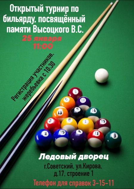 Открытый турнир по бильярду, посвящённом памяти Высоцкого В.С.