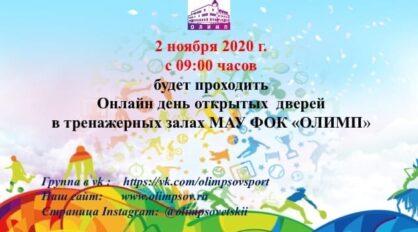 МАУ ФОК «Олимп» проводит 2 ноября 2020 года с 09:00 часов онлайн День открытых дверей тренажерных залов.