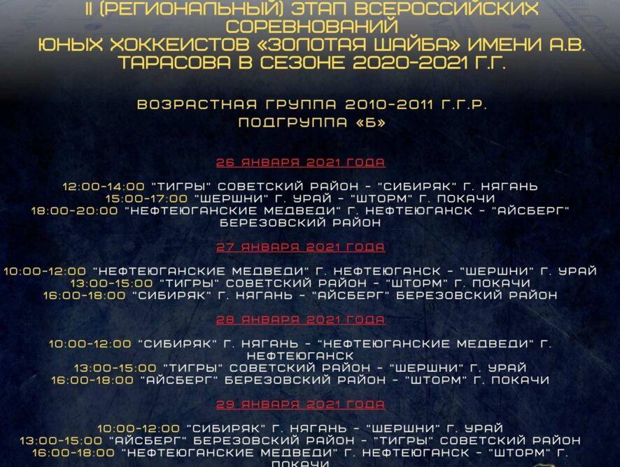 II (Региональный) этап Всероссийских соревнований юных хоккеистов «Золотая шайба» имени А.В. Тарасова в сезоне 2020-2021 гг., возрастной группы 2010-2011 гг.р. , подгруппа «Б»